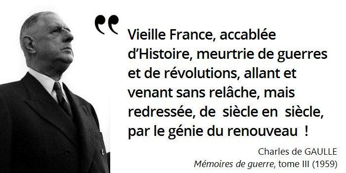 Malgré toutes les épreuves, de Gaulle a littéralement incarné la France #histoire de #France en #citations