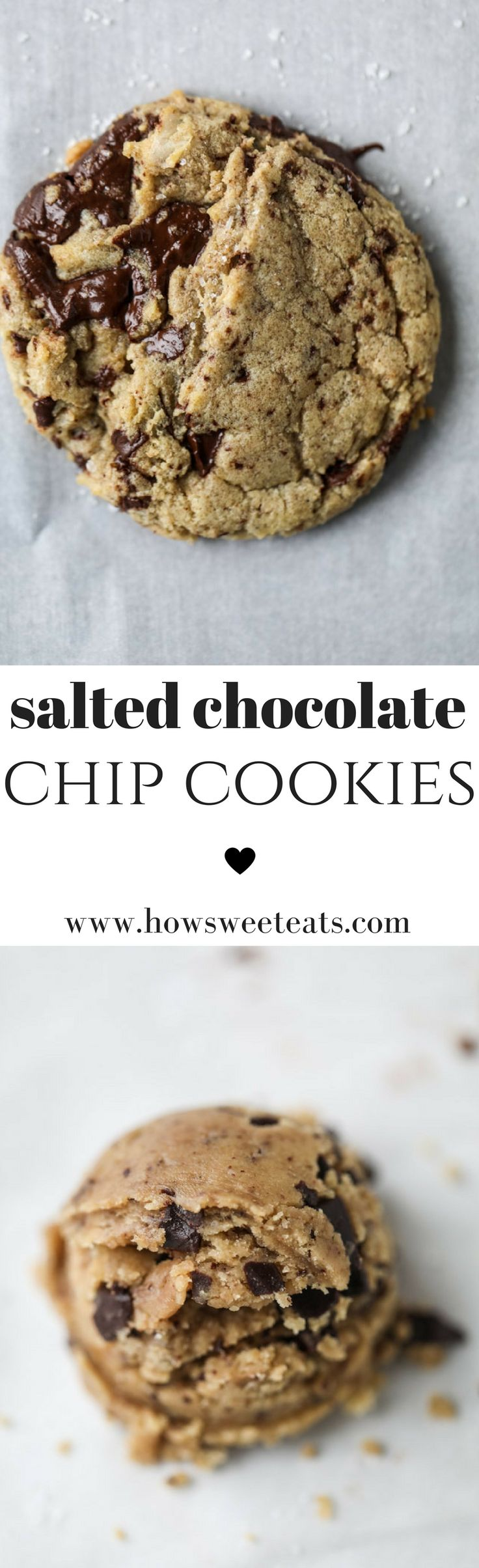Chewy Salted Chocolate Chip Cookies I @howsweeteats