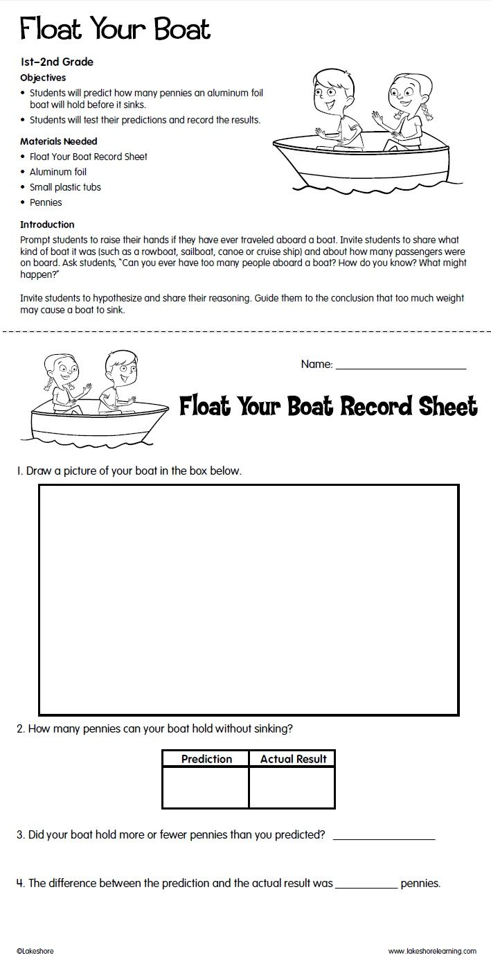 Float Your Boat Lesson Plan From Lakeshore Learning