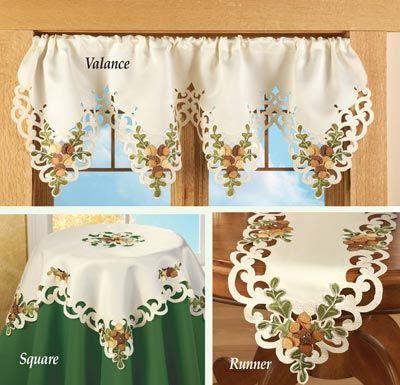 Embroidered Autumn Acorn  Decorative Linens