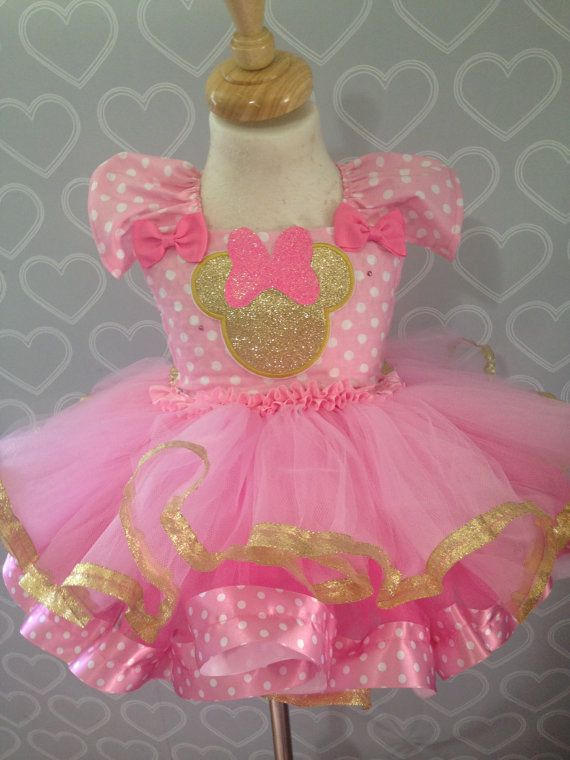 Minnie Mouse dress/Minnie mouse tutu dress/pink and gold Minnie Mouse…