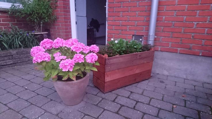 Blomsterkasse og blomsterkrukke. Købt og lavet selv.