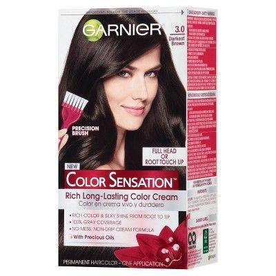 Garnier Color Sensation Hair Color Rich Long-Lasting Color Cream 3.0 Darkest Brown