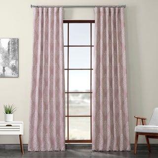 Porch & Den Frances Printed Textured Blackout Curtain (50 X 84 – Pink)(Polyester, Damask)