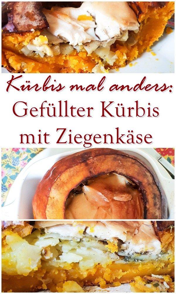 Gefüllter Kürbis mit Ziegenkäse. Vegetarisches Rezept für Kürbis mal anders. Kochen in der Kürbiszeit.