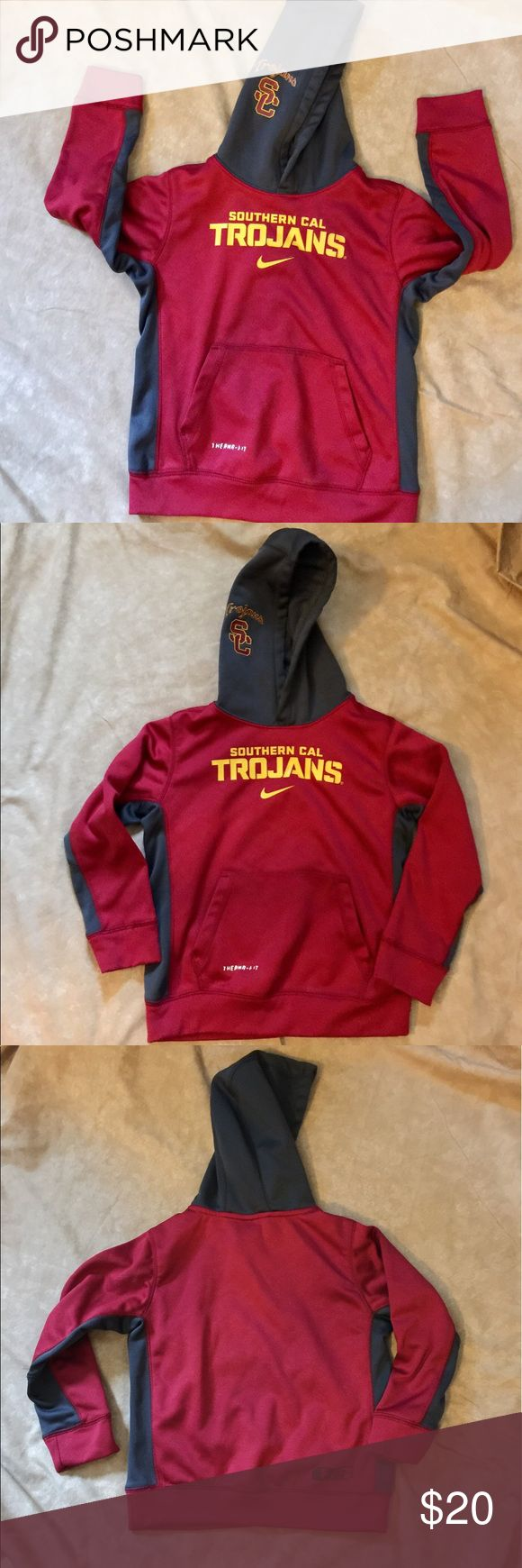 "USC Hoodie Official University of Southern California hoodie sports wear,  size 6. The printing ""THERMA-FIT' on the bottom of sweatshirt is slightly starting to peel and can be seen on the 1st photo. Otherwise it is in very good condition. Worn only twice. Nike Shirts & Tops Sweatshirts & Hoodies"