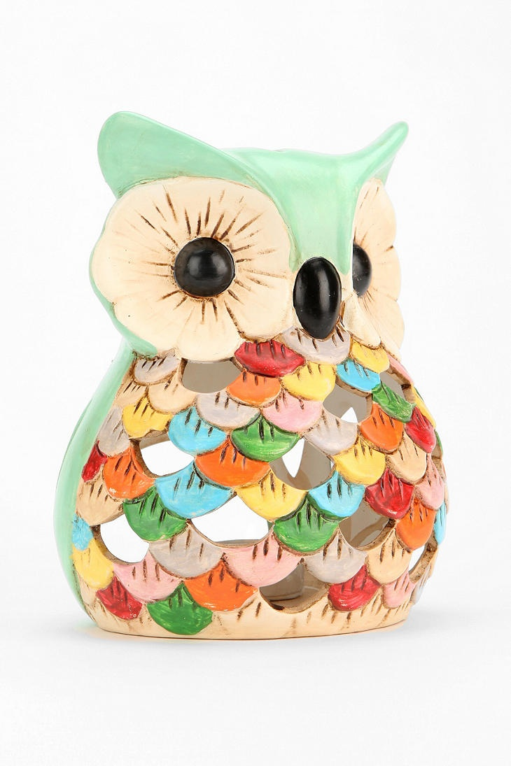 Ceramic Snow Owl Tea Candle Holder