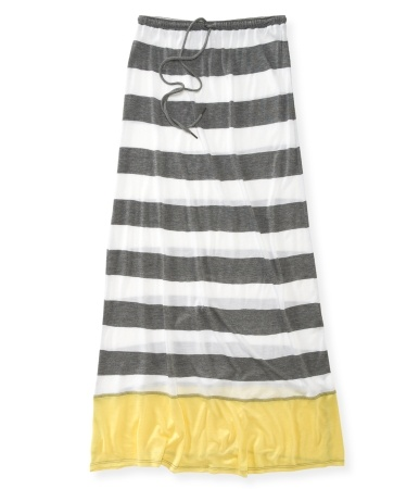 Need to lengthen a skirt?  love the solid color bottom on this one...Striped Jersey Knit Maxi Skirt
