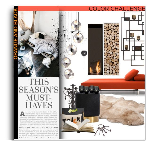 """colour challenge: orange and black"" by hafsahshead ❤ liked on Polyvore featuring interior, interiors, interior design, home, home decor, interior decorating, Zuo, Crate and Barrel, H&M and UGG Australia"