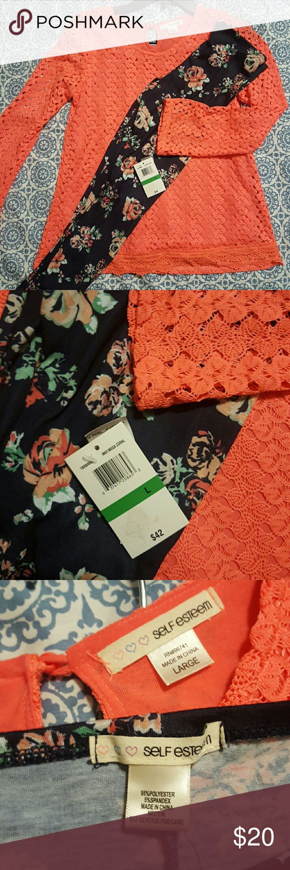 Girls Tunic With Leggings Coral Crochet and lace tunic with navy floral print leggings.  NWT.  Top is a girls Large.  Leggings are girls Medium.  Great back to school outfit.     Check out my other listings for additional discount on bundles! Self Esteem Matching Sets