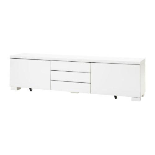 BESTÅ BURS Tv-taso - korkeakiilto valkoinen - IKEA