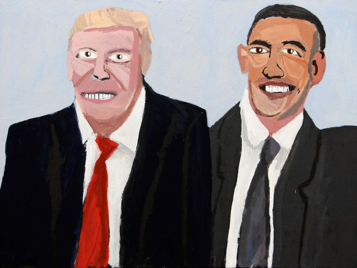 Trump and Obama by Vincent Namatjira. https://www.theguardian.com/artanddesign/gallery/2017/oct/13/tarnanthi-indigenous-art-festival-in-pictures