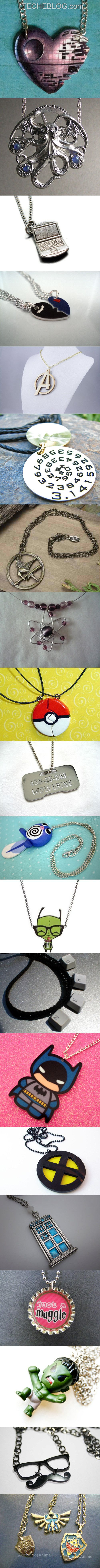 A collection of 20 cool and creative necklaces for geeks.