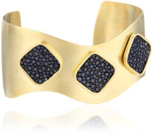 """Nissa Jewelry """"Leather"""" Alexandra Stingray Cuff Gold/Navy Bracelet Nissa Jewelry. $85.00"""