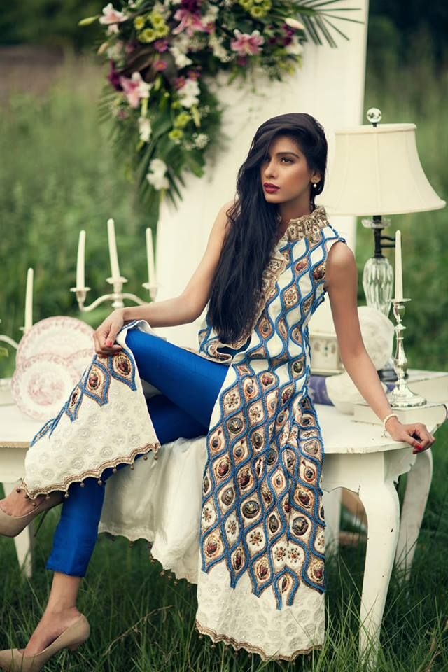 A gorgeous peacock blue and ivory churidaar set - perfect for a low key pre…