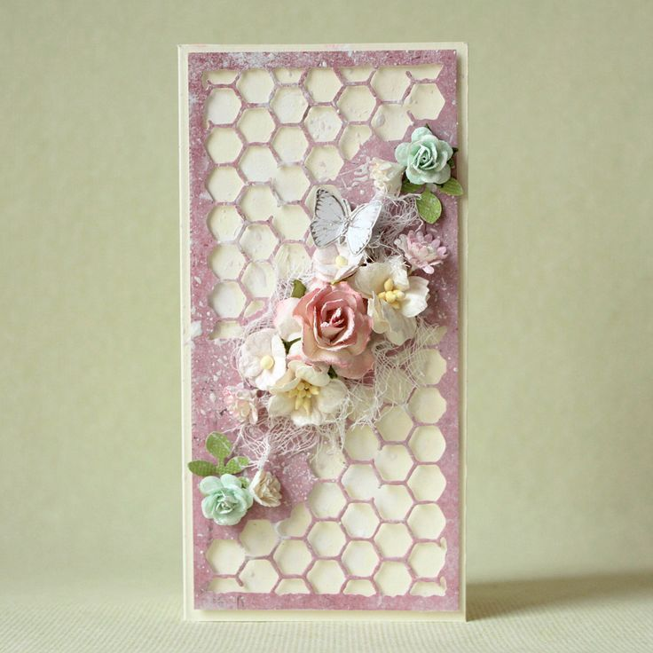 Handmade shabby chic card with many flowers - Pastellipäivä.