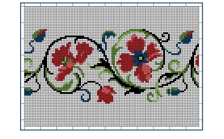 Moderne Stickerei-Vorlagen, Secession, Jugend-Styl, page 10. c. 1915. Art Nouveau cross-stitch, flowers.