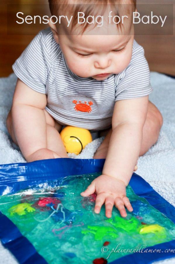 Sac sensoriel pour bébé - à partir d 7 ou 8 mois : sac congélation, scotch, paillettes, gel cheveux, colorant, jouets... - Activités Montessori pour les tout petits bébés ( 0 - 1 an ) Jeux d'éveils pour les enfants Nido Montessori