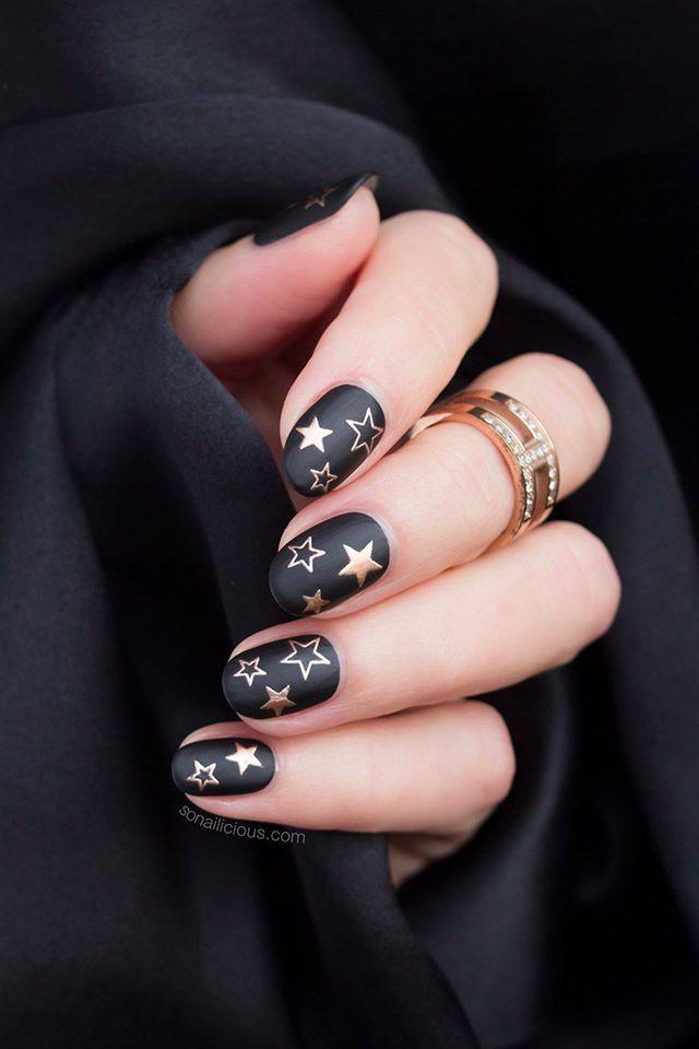Summer Nails Black Nails In 2020 Star Nails Star Nail Designs Christmas Nail Art