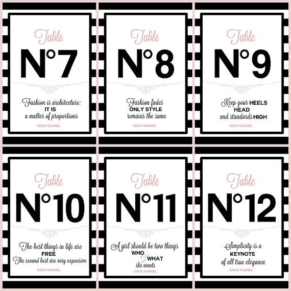 PRINTABLE Table numbers #1-12 with Chanel quotes Bridal/Baby shower/Birthday party/Sweetsixteen 16/Wedding/Paris/France/Chanel Black/Pink