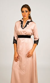 LUM BY LAMA TAHER  SCO1    Old rose A-line cotton dress with black sequenced lace on sleeves and collar      PRICE  1,700 SR