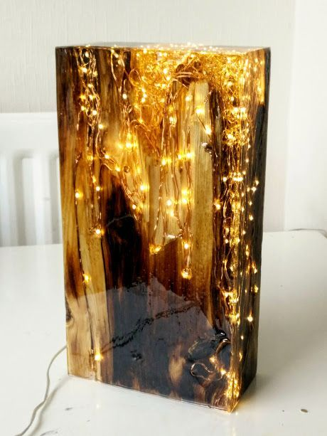 Resin Lamp – Reclaimed Antique Pine Wood and Resin – Light block Sculpture