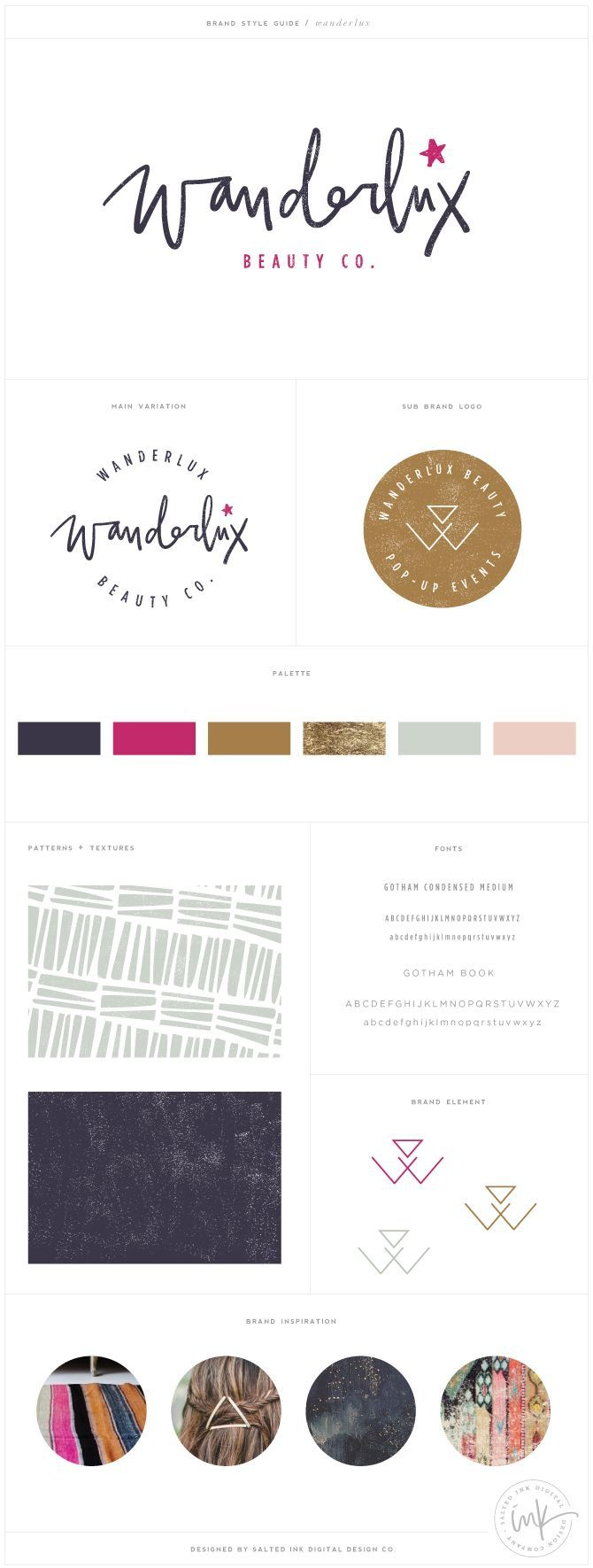 Wanderlux Beauty Co Brand Design by Salted Ink | Brand Stylist and Website Designer | View the full brand design at http://www.saltedink.com