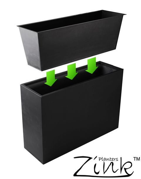 L89cm Black Zinc Tall Trough Planter with Insert - By Zink™ £74.99