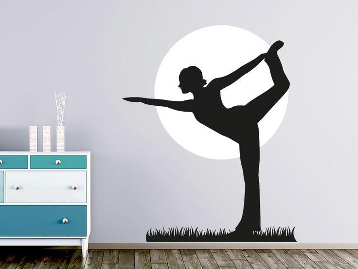 Yoga Dekoration mit der Yoga-Silhouette als Wandtattoo für den Gymnastikraum, das Fitnesstudio oder den Wohnbereich.