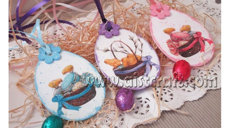 Decoupage tutorial for beginners - DIY.  Easter egg pendants ideas. Wiel...