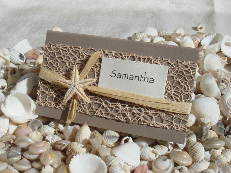 beach wedding place cards   Beach Wedding Invitations and Wedding Favors