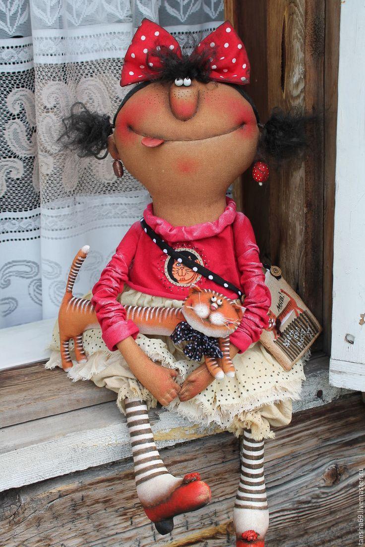 Купить Забияки! - комбинированный, текстильная кукла, ароматизированная кукла, интерьерная кукла, котик, ткань, синтепух