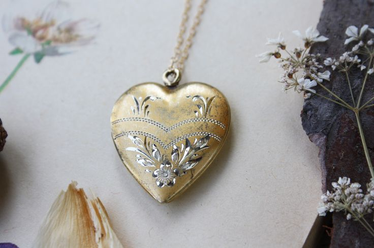 Vintage Golden Heart Locket Necklace - Hand Etched by Meadow & Fawn | #advertiserloveday