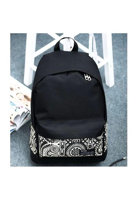 ILife National Ethnic Printing Patchwork Canvas Backpack Schoobag School Bag for Teenagers Mochila Rucksack Black | Lazada PH