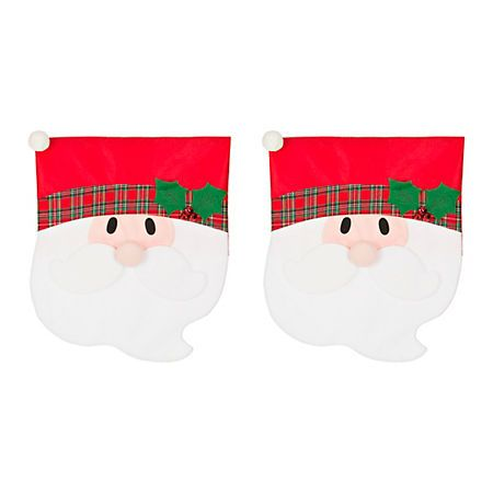 Plaid Santa Christmas Chair Covers Set Of 2