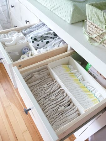 I bought this months ago and never used it. Now it has a purpose! Ikea Komplement drawer organizers for the Hemnes dresser. Put diaper items in top drawers