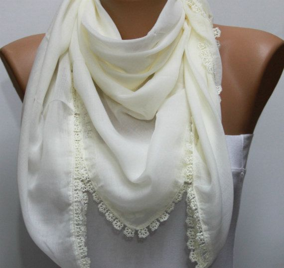 Creamy White  Scarf-  by fatwoman, $15.00: Cowl, White Scarf, Cotton Scarf, Scarf Headbands