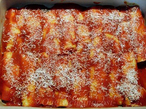 Cannelloni di crespelle con ricotta e spinaci al sugo di…