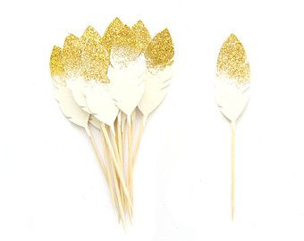 12 Champagne & Gold Dusted Feather Cupcake Toppers  -  Birthday Cupcake Topper, gold birthday cake topper, wedding cupcake topper
