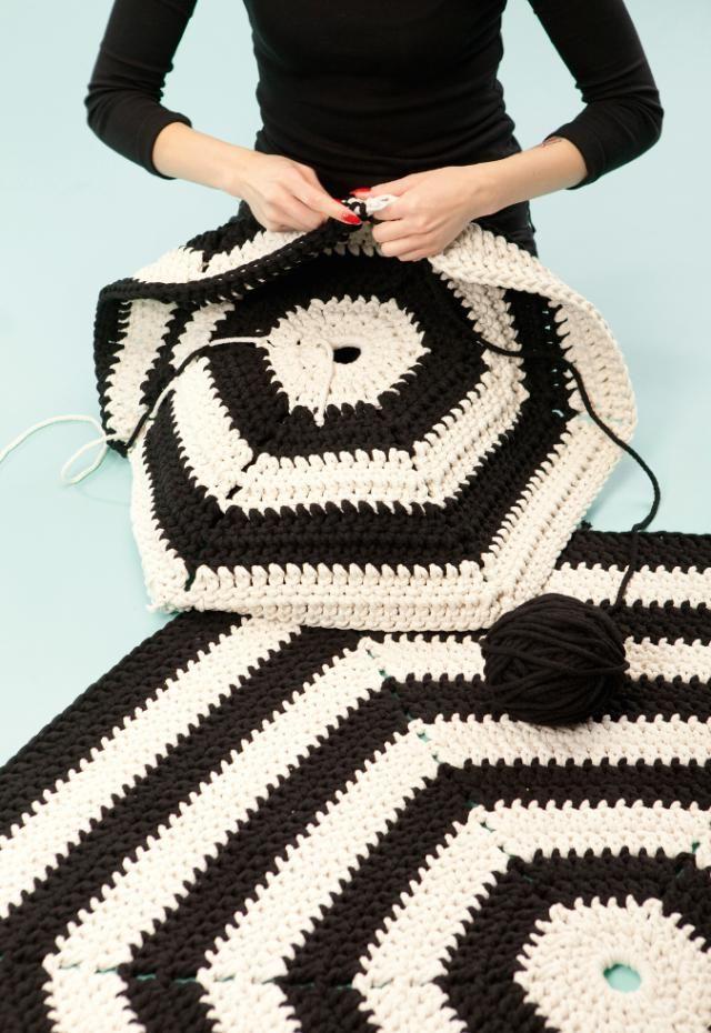 Trend Alert for 2015: Hexagon Decor Ideas for Small Spaces: Crochet a Hexagon Rug