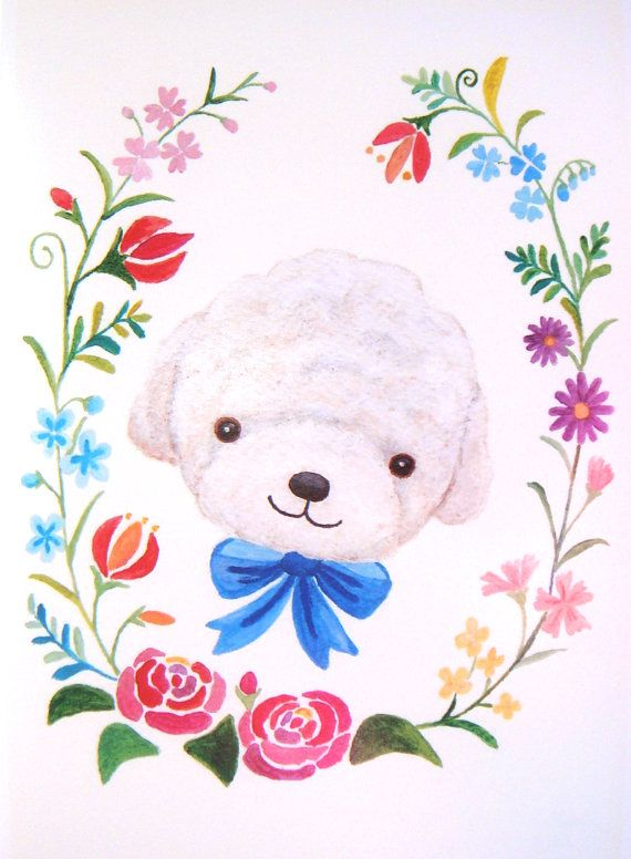 Bichon Poodle Dog Illustration Print Floral Garden by mikaart, $10.99