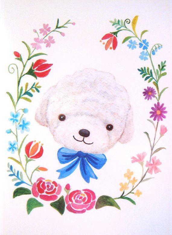 Bichon Poodle Dog Illustration Print Floral Garden by mikaart, $10.99