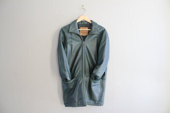 Free Shipping Spruce Green Leather Jacket Genuine by Amilialia