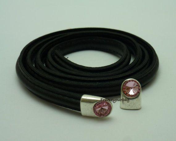 20  OFF 4 swarovski Cystral lightt Pink End Caps by frameyourbag, €3.99