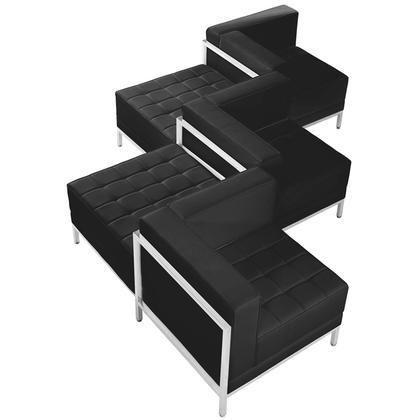 ZB-IMAG-SET5-GG HERCULES Imagination Series Black Leather 5 Piece Chair & Ottoman Set