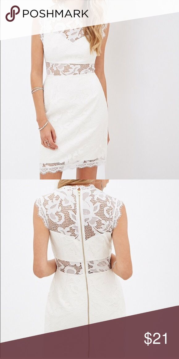Cream lace sheath dress Sweetheart illusion neckline, a sheer waist panel and faux leather lining. This piece is full of daring details that make its delicate lace fabric a lot edgier. Wore one at my bachelorette party, like new! Forever 21 Dresses Mini