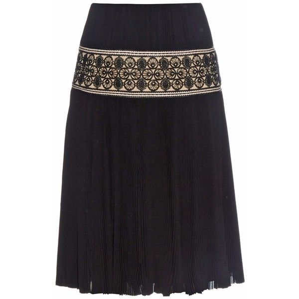 Alexander McQueen Plissé and macramé-lace skirt found on Polyvore featuring skirts, black, evening skirts, black flounce skirt, lace skirt, black knee length skirt and holiday skirts