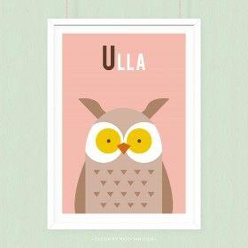 Poster Uil met eigen naam