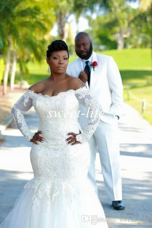 2015 Plus Size Wedding Dresses Sexy Mermaid Long Sleeve Backless Lace Off Shoulder Tulle Custom Made Sheer Vestidos De Novia Wedding Gowns Online with $136.84/Piece on Sweet-life's Store | DHgate.com