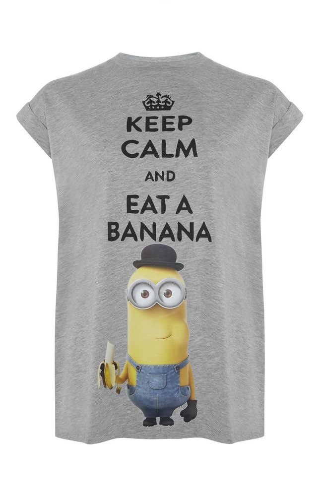 MINIONS DESPICABLE ME Ladies T Shirt Primark Top KEEP CALM AND EAT A BANANA